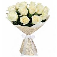Bouquet of 15 white roses - flowers and bouquets on uaflorist.com