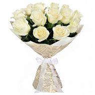 Букет 15 белых роз - цветы и букеты на uaflorist.com