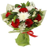 Bouquet of 7 roses, 3 chrysanthemums, 7 alstroemerias - flowers and bouquets on uaflorist.com