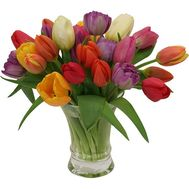 A bouquet of 29 colorful tulips - flowers and bouquets on uaflorist.com