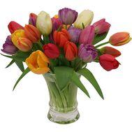Букет із 29 різнокольорових тюльпанів - цветы и букеты на uaflorist.com
