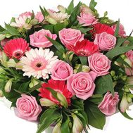 Bouquet of 15 roses, 10 alstroemerias and 7 gerberas - flowers and bouquets on uaflorist.com