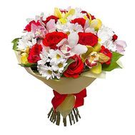 Bouquet of 13 roses, 9 orchids and 8 chrysanthemums - flowers and bouquets on uaflorist.com