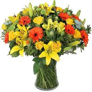 A bouquet of 11 gerberas, 5 lilies, 15 roses and 4 chrysanthemums - flowers and bouquets on uaflorist.com