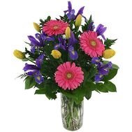 Spring bouquet of irises and gerberas flowers - flowers and bouquets on uaflorist.com