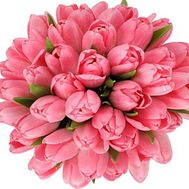 Букет із 45 рожевих тюльпанів - цветы и букеты на uaflorist.com