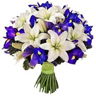 A bunch of 16 irises and 5 lilies - flowers and bouquets on uaflorist.com