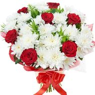 Bouquet of flowers of 6 roses and 5 chrysanthemums - flowers and bouquets on uaflorist.com