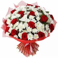 Bouquet of 15 roses and 12 chrysanthemums - flowers and bouquets on uaflorist.com
