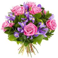Bouquet of 12 irises and 7 pink roses - flowers and bouquets on uaflorist.com