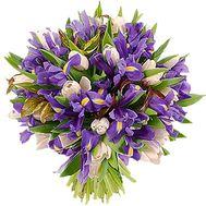 Букет из 35 ирисов и 22 тюльпанов - цветы и букеты на uaflorist.com