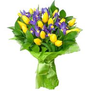A bouquet of 19 tulips and 10 irises - flowers and bouquets on uaflorist.com
