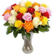 21 разноцветная роза - цветы и букеты на uaflorist.com