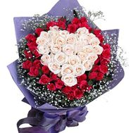 Bouquet of 28 white and 43 red roses - flowers and bouquets on uaflorist.com