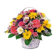 Basket of 4 alstroemerias, 4 cloves, 7 roses, 7 gerberas - flowers and bouquets on uaflorist.com