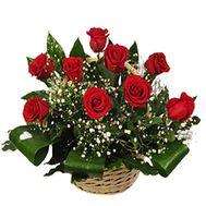 Корзина цветов из 11 роз - цветы и букеты на uaflorist.com