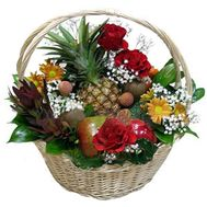 Basket with fruits and flowers - flowers and bouquets on uaflorist.com