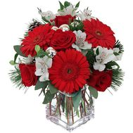 Composition for New Year from gerberas, roses, alstromeries - flowers and bouquets on uaflorist.com