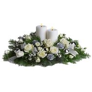 A composition of roses, candles, fir branches, games - flowers and bouquets on uaflorist.com
