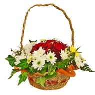 Basket of flowers of 9 chrysanthemums and 10 roses - flowers and bouquets on uaflorist.com