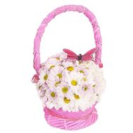 Basket of flowers of 5 chrysanthemums - flowers and bouquets on uaflorist.com