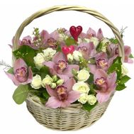 Basket of flowers from 15 orchids and 12 roses - flowers and bouquets on uaflorist.com
