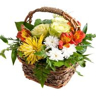 Basket of flowers from 2 chrysanthemums, 2 alstroemerias and 3 roses - flowers and bouquets on uaflorist.com
