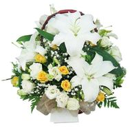 Basket of flowers from 3 lilies and 19 roses - flowers and bouquets on uaflorist.com
