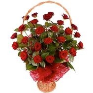 Корзина цветов из 25 роз - цветы и букеты на uaflorist.com
