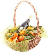 Basket with tangerines and wine - flowers and bouquets on uaflorist.com