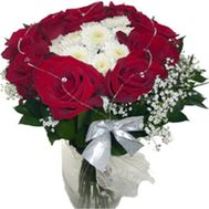 Bouquet of 13 roses and 3 chrysanthemums - flowers and bouquets on uaflorist.com