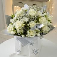 New Year''s bouquet of flowers from roses with gypsophila' - flowers and bouquets on uaflorist.com