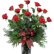New Year''s bouquet of roses and pine branches' - flowers and bouquets on uaflorist.com