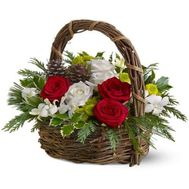 Christmas basket of flowers - Christmas 2019 - flowers and bouquets on uaflorist.com
