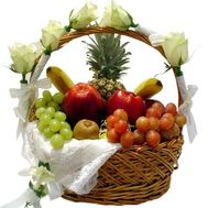 A gift basket of fruits and flowers - flowers and bouquets on uaflorist.com