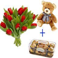 15 тюльпанов, мишка и конфеты - цветы и букеты на uaflorist.com