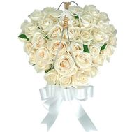 Heart of 37 white roses - flowers and bouquets on uaflorist.com
