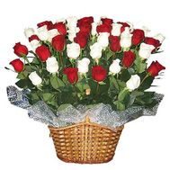 Basket of flowers from 45 import roses - flowers and bouquets on uaflorist.com