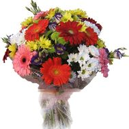 Bouquet of flowers from 10 gerberas and 11 chrysanthemums - flowers and bouquets on uaflorist.com