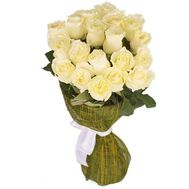 Bouquet of 17 white import roses - flowers and bouquets on uaflorist.com