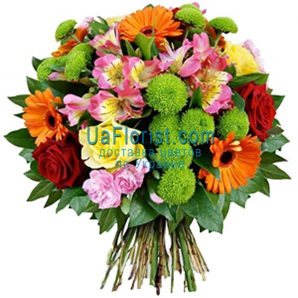"""""""Bouquet of 5 gerberas, 6 roses, 5 alstroemerias and 3 chrysanthemums"""" in"""