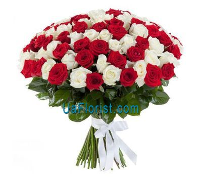 """""""101 red and white rose"""" in the online flower shop uaflorist.com"""