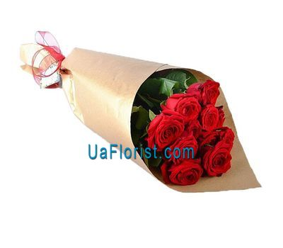 """11 red roses in the paper"" in the online flower shop uaflorist.com"