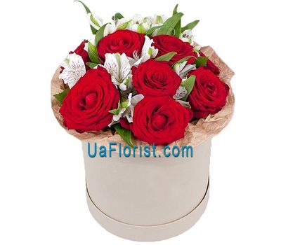 """A box of roses and alstroemerias"" in the online flower shop uaflorist.com"