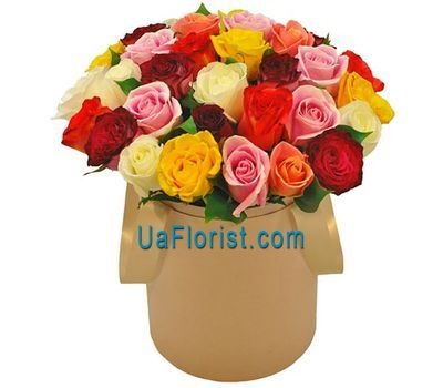"""Multicolored roses in the box"" in the online flower shop uaflorist.com"
