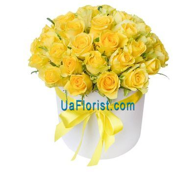 """Yellow roses in the box"" in the online flower shop uaflorist.com"