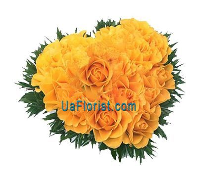 """""""Серце з 27 жовтих троянд"""" в интернет-магазине цветов uaflorist.com"""