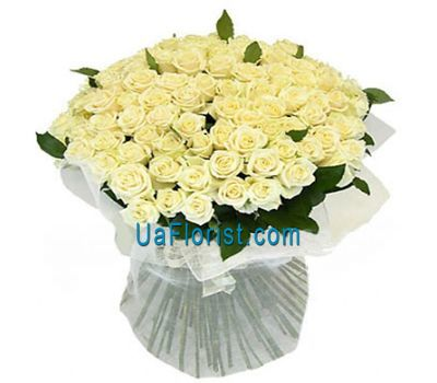 """A huge bunch of roses from 101 white roses"" in the online flower shop uaflorist.com"