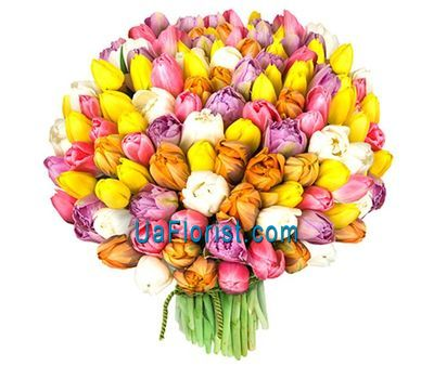 """Luxurious bouquet of 101 tulips"" in the online flower shop uaflorist.com"