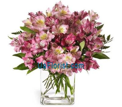 """Bouquet of flowers from 17 alstroemerias"" in the online flower shop uaflorist.com"